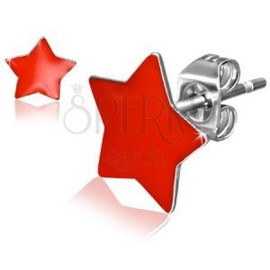 Puzetové ocelové náušnice, lesklé červené hvězdy