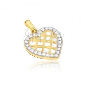 Zlatý přívěsek 585 - obrys souměrného srdce, lesklá mřížka, zirkony