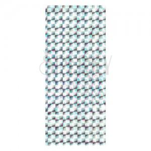 Stříbrný dárkový sáček z celofánu s odleskem - čtverce s paprsky