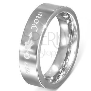 """Lesklý ocelový prstýnek stříbrné barvy, šíp se srdcem, """"me"""",""""you"""""""