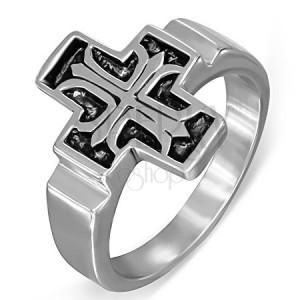 Ocelový prsten, Fleur de Lis v patinovaném latinském kříži