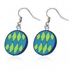 FIMO náušnice, modré kruhy se zelenými kosočtverci