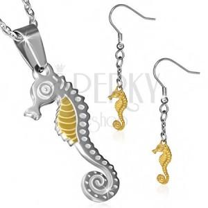 Dvoubarevná ocelová sada - náušnice a přívěsek s řetízkem, mořský koník