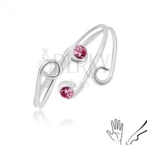 Stříbrný prsten 925 na ruku nebo nohu, rozvětvená ramena s růžovými zirkony