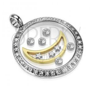 Přívěsek z chirurgické oceli - kruh s měsícem, hvězdami a zirkony