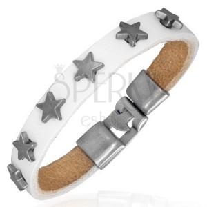 Řemínek z bílé kůže se šesti hvězdami