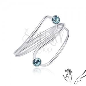 Stříbrný prsten 925 na ruku nebo nohu, světle modré zirkony v obrysu slzy