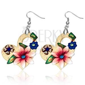 FIMO náušnice, asymetrická srdce s barevnými květy a kamínky