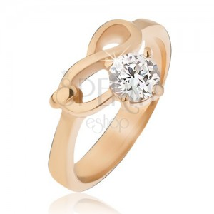 Ocelový prsten zlaté barvy, symbol nekonečna a čirý zirkon