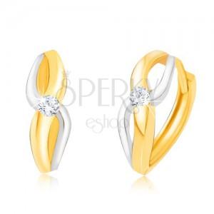 Zlaté dvoubarevné náušnice 585 - bílo-žlutá lesklá spirála, kulatý kamínek