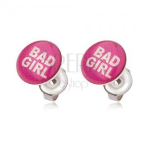 Ocelové náušnice růžové barvy, Bad Girl