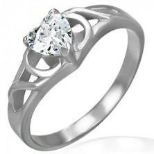 Zásnubní prsten z chirurgické oceli - čiré zirkonové srdce, ornamenty