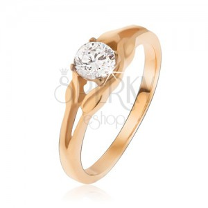 Zlatý prsteň z ocele, zirkón uprostred elipsy