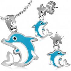 Ocelová sada - náušnice a přívěsek, skákající delfín