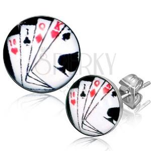 Puzetové náušnice z chirurgické oceli, hrací karty