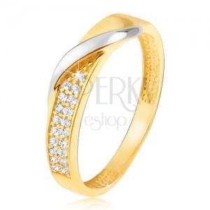 Zlatý prsten 585 - pás drobných čirých zirkonů, zvlněná linie v bílém zlatě