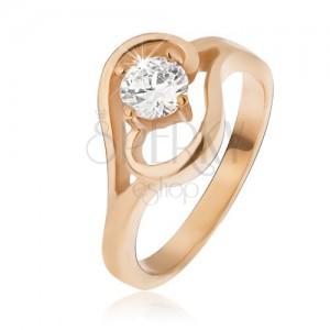 Ocelový prsten zlaté barvy, ramena ukončená vlnkou, čirý zirkon