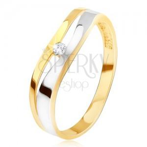 Prsten ze zlata 14K, zvlněná rozdvojená linie, čirý zirkon, dvoubarevný