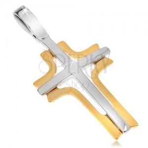 Dvoubarevný zlatý přívěsek 585 - bílý latinský kříž a žlutý vyřezávaný obrys kříže