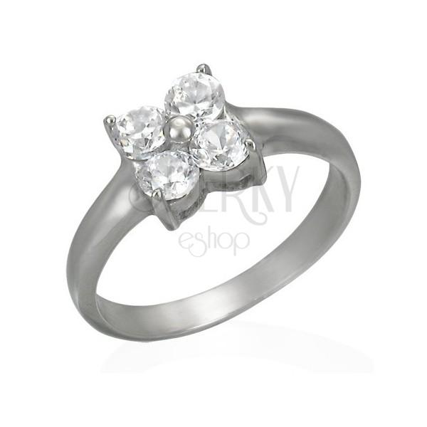 Prsten z oceli s kvítkem ze zirkonů