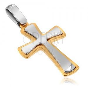 Dvoubarevný přívěsek ze zlata 14K - lesklo-matný, rozšiřující se ramena