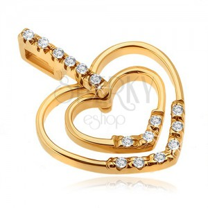 Přívěsek ve žlutém 14K zlatě - pás zirkonů, lesklé obrysy srdcí, kamínky