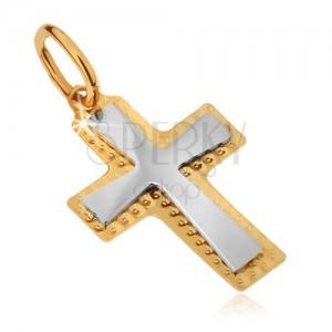 Přívěsek ze zlata 14K - dvoubarevný kříž, ozdobně gravírovaný okraj