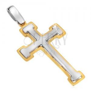 Přívěsek ze zlata 14K - dvoubarevný berličkový kříž, lesklo-matný