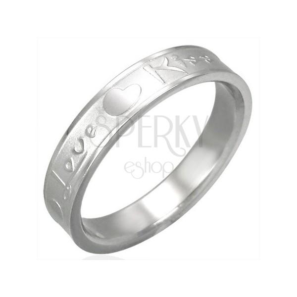 Ocelový prsten - Love & Kiss