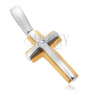 Dvoubarevný přívěsek ze zlata 14K - dvojitý kříž, žluto-bílý, zirkon uprostřed