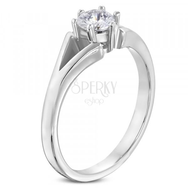Ocelový prsten stříbrné barvy - zásnubní, rozdělená ramena, čirý zirkon