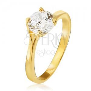 Prsten ze žlutého 14K zlata - čirý kulatý zirkon v kotlíku, rozdvojená ramena