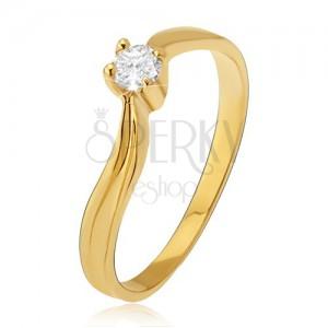 Zlatý prsten 585 - lesklá zvlněná ramena, prohlubeň, čirý kamínek