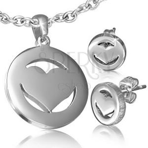 Set z chirurgické oceli - náušnice a přívěsek, symetrické srdce v kruhu