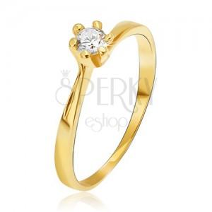 Prsten ze žlutého 14K zlata - zúžená ramena u kotlíku, kulatý kamínek