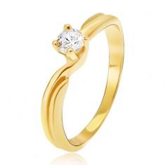 3d7a82ee2 Prsten ze žlutého 14K zlata - rozdvojená ramena, kulatý kamínek v kotlíku  GG14.39