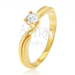 Prsten ze žlutého 14K zlata - rozdvojená ramena, kulatý kamínek v kotlíku