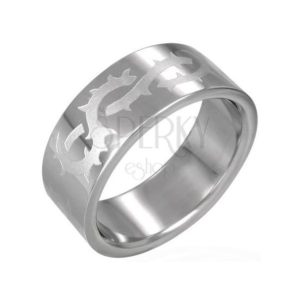 Prsten z chirurgické oceli s matným ostnatým drátem