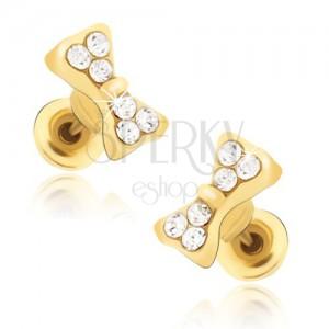 Puzetové náušnice zlaté barvy, zirkonové mašličky
