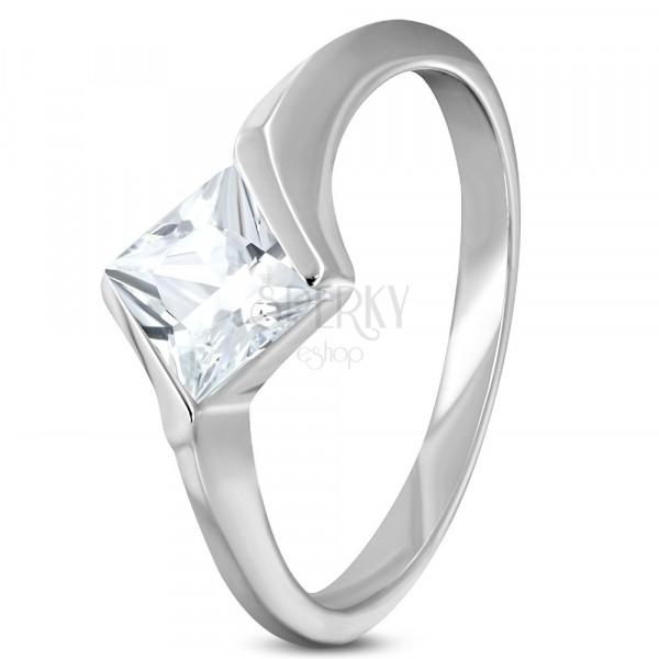 Zásnubní ocelový prsten s kosočtvercovým zirkonem čiré barvy