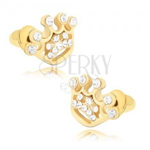 Puzetové náušnice zlaté barvy, zirkonová koruna