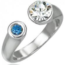 Prsten s dvojitým zirkonem - rozdělený