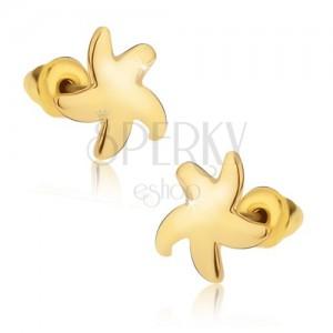 Puzetové náušnice, lesklá zlatá hvězdice
