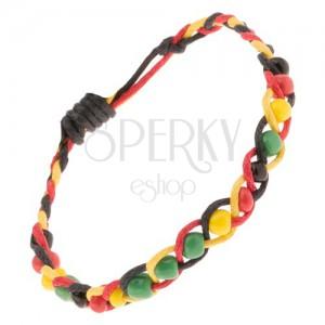 Šňůrkový pletenec žluto-červeno-černé barvy s barevnými korálky