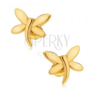 Puzetové náušnice, zlatá vážka