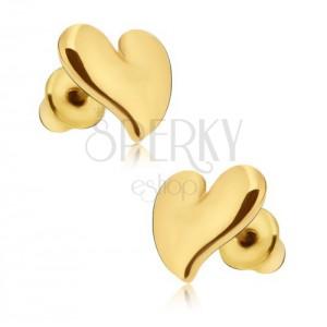 Náušnice lesklé zlaté barvy, asymetrické srdce