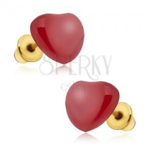 Náušnice - souměrná červená glazovaná srdce