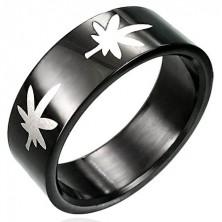 Černý prsten s marihuanou