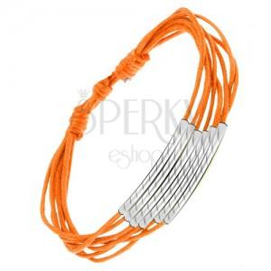 Oranžový šňůrkový náramek, lesklé rourky se šikmými zářezy