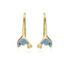 Zlaté náušnice 375 - lesklý plochý delfín, světle modrá glazura GG02.22